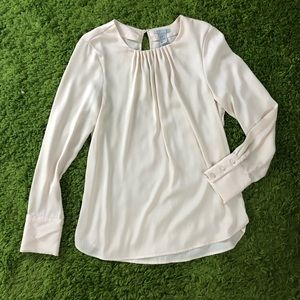 H&M cream silky cuffed long sleeve blouse size 8